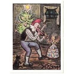 Sæt D: Henry Heerup julekort, Nisse med violin