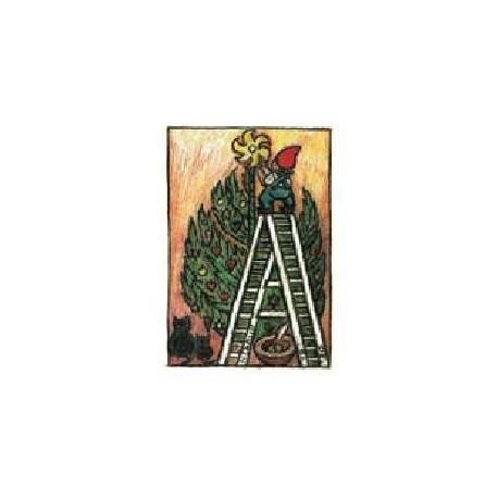 Sæt A: Henry Heerup julekort, Nisse på stige